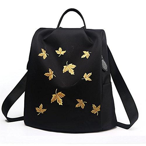 RFVBNM Frau Tasche bestickt Oxford Tuch Doppel-Schultertasche Lady Canvas Anti-Diebstahl Rucksack Mumie Tasche Reiserucksack Maple Student Rucksack Camping und Einkaufstasche Bestes Geschenk für Mädch