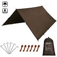 KALINCO Hammock Tarp Tent Camping Rain Fly 10X10FT/10X15FT Mutifunctional Tarp Footprint Durable Lightweight Quick-Drying Shelter Canopy