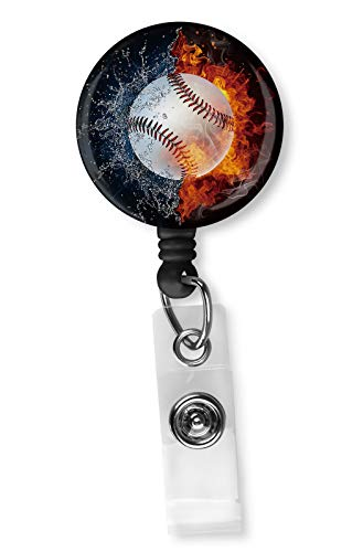 Baseball Ball in Fire and Water Badge Reel, Retractable Name Card Badge Holder with Alligator Clip, 24in Nylon Cord, Medical MD RN Nurse Badge ID, Badge Holder, ID Holder, Office Employee Name Badge