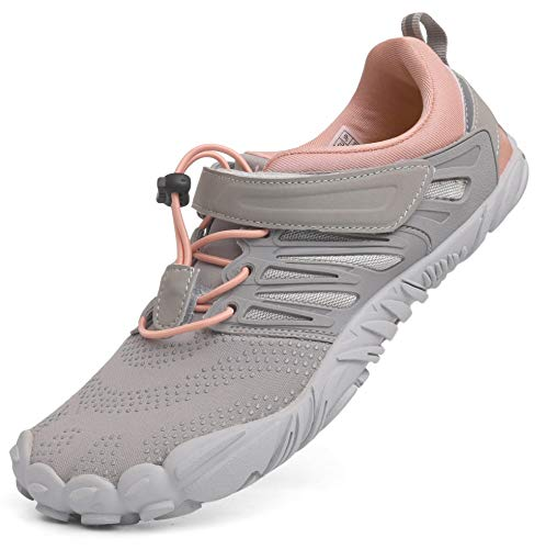 WHITIN Women's Minimalist Barefoot Shoes Low Zero Drop Trail Running 5 Five Fingers Wide Toe Box for Male Ultra Lite Light Weight Comfy Athletic Grey Pink Size 9.5