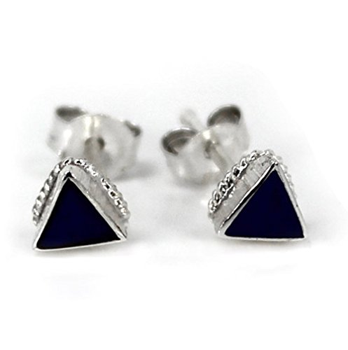 Sterling Silver Triangle Stone Inlay Rope Design Stud