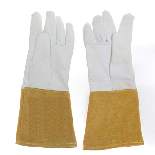 Goquik Welding Gloves, Leather Gloves, Long Thick Wear-Resistant Protective Gloves, Insulated Argon Arc Welding TIG Gloves (Color : White(13-15cm), Size : XL) by Goquik (Image #1)