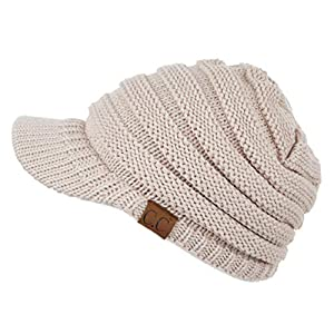 C.C Hatsandscarf Exclusives Women's Ribbed Knit Hat with Brim (YJ-131)