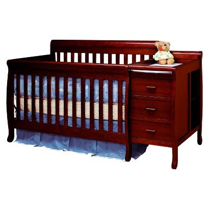 Mikaila Milano 3-in-1 Crib and Changer Combo - Cherry - Crib in Baby - Cribs with Drawers and Storage - Convertible - Changing Table Attached - Crib to a full-sized Bed - 1 Year Limited Manufacturer Warranty.