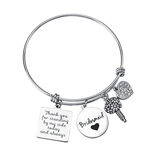 Miss Pink Bridesmaid Gift Thank You for Standing by My Side Today and Always Charm Bracelet Wedding Party Jewelry from Bride]()