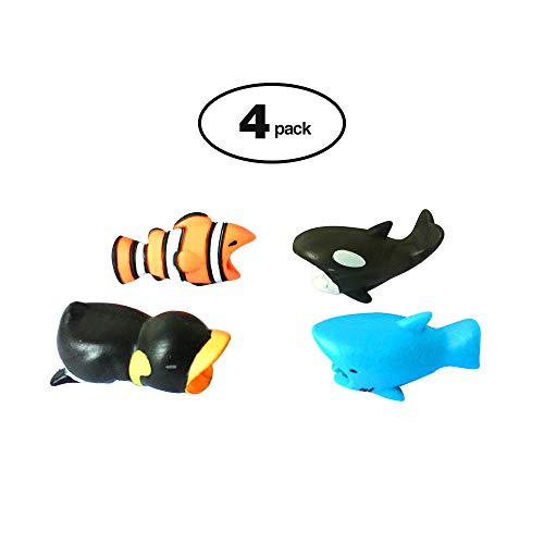 4 Pack Cable Protector Cable Little Animal bite Cute Animal USB Cable Protectors Data Line(Compatible iPhone Cords) (Ocean Series)