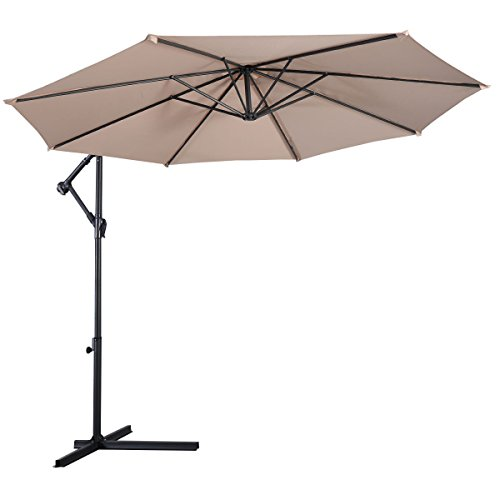 10' Beige Hanging Umbrella Patio Garden Residential Sunshade UV Protective Cross Base