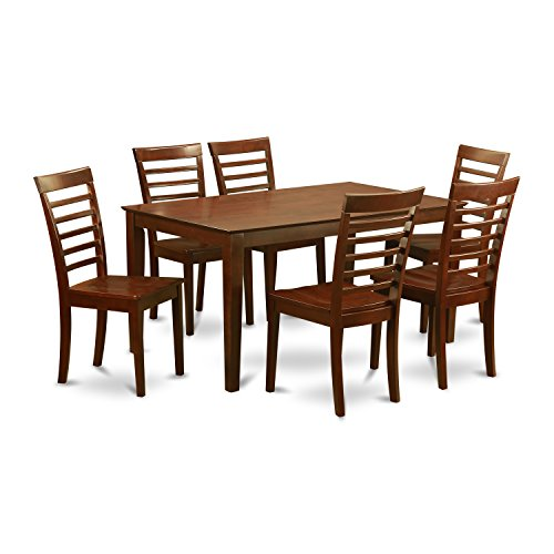 East West Furniture CAML7-MAH-W and 6 Kitchen Chairs Dining Table, Wood Seat, Mahogany Finish