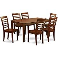 East West Furniture CAML7-MAH-W 7-Piece Dining Room Table Set