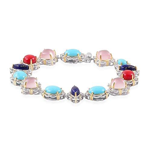 Multi Gemstone 14K YG and Platinum Plated Sterling Silver Bracelet 8.00 In 14k Yg Multi Gemstone