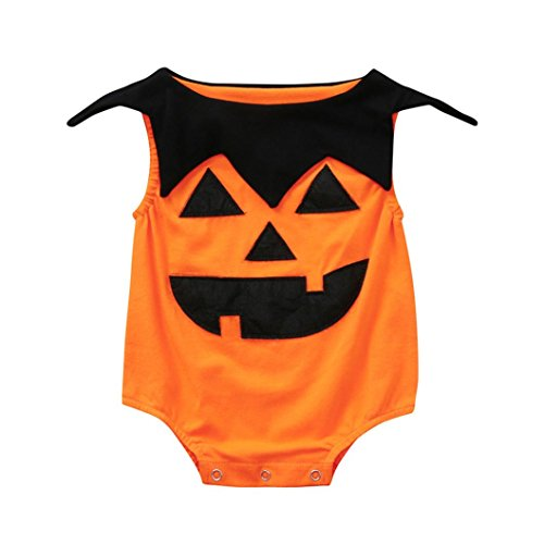 Hunzed Halloween Pumpkin Infant Baby Girls Boys Romper, Newborn Toddler Jumpsuit Costume Outfits (12M, Orange) -