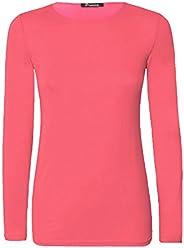 85755c1aa ZEE FASHION New Ladies Plain Stretch Fit Long Sleeve Womens T-Shirt Round  Neck Basic
