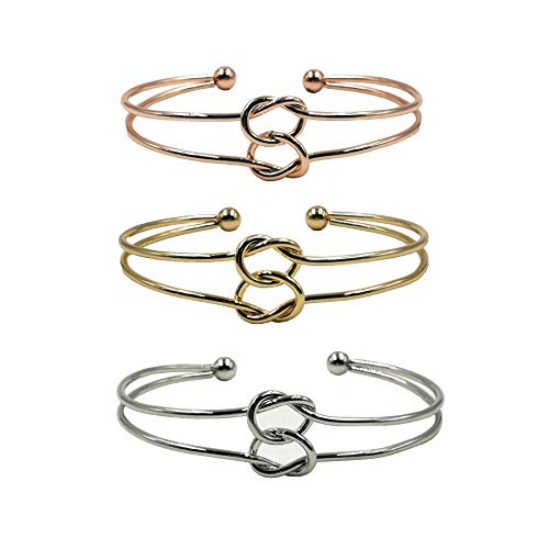 3 Sets Adjustable Bracelet Alloy Simple Forever Love Fashion Plated Stainless Steel Metal Jewelry Bangle Wristlet Circlet Cuff for Women Girls