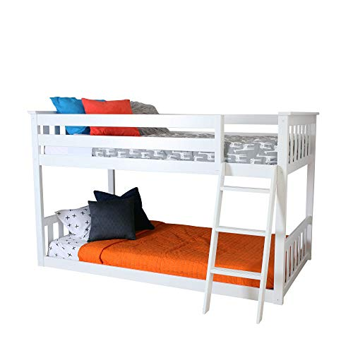 Max & Lily Twin over Twin Low Bunk Bed, White