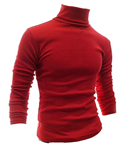 discount Fulok Mens Winter Pullover Long Sleeve Knit Solid Turtleneck Sweater supplies