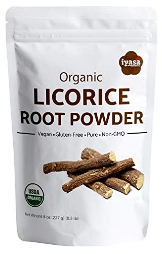 (Organic Licorice Root Powder (Mulethi), Glycyrrhiza glabra, Pack of 8 Oz/225 gm, USDA Organic, Natural Expectorant, Soothes Sore Throat, Candy Flavoring agent, Super food ,Resealable Pouch of 8 oz)