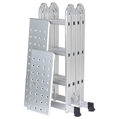 Finether 3.7M Leiter Mehrzweckleiter Klappleiter mit Plattform 4x3 Sprossen Anlegeleiter Stehleiter Leitergerüst Arbeitsbühne alu