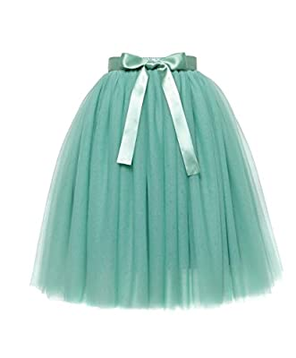 Women's Midi/Knee Length Bowknot 6 Layered Tulle Pleated Skirt High Waist Princess A LineFor Prom Party Petticoat Dance Tutu