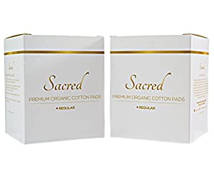 Premium Organic Cotton Pads For Women - Regular Day - Ultra Thin - Natural Sanitary Napkins with Wings (24 Total), Set of 2 - By Sacred Products