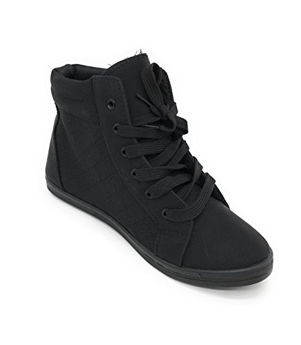 Blue Berry Easy21 Womens Alta Cima In Tela Faux-fur Fashion Sneaker All Black23