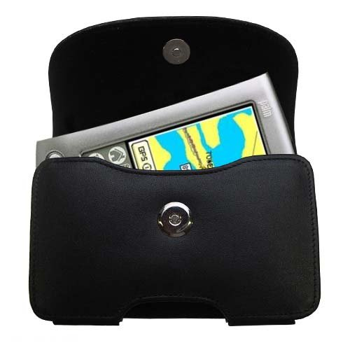 Gomadic Brand Horizontal Black Leather Carrying Case for the Palm palm m500 with Integrated Belt Loop and Optional Belt Clip