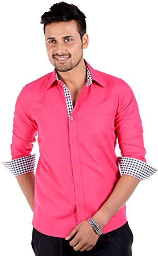 6494506f6f6 S9 Men Solid Casual Pink Shirt  Amazon.in  Clothing   Accessories
