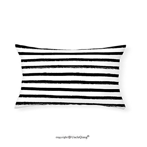 VROSELV Custom pillowcasesAbstract Minimalist Paintbrush Bands in Black Simplistic Abstract Artful Grunge Illustration for Bedroom Living Room Dorm White(14''x24'') by VROSELV