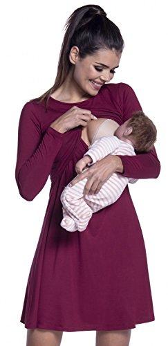 Vestito lunga donna Ville 128c strati a Zeta Cremisi allattamento manica prémaman 05qHw8w