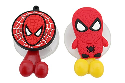 Finex® *Set of 2* Marvel Spiderman Toothbrush Holders with Suction Cup for wall in bathroom at home - DC Comics superhero