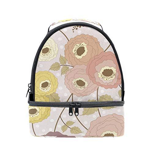 Bolsa para ajustable floral estampado de de con FOLPPLY para el aislante pincnic escuela la con almuerzo hombro correa fd1xFRBqw