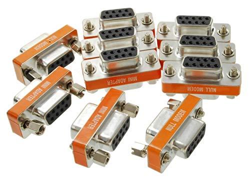CablesOnline DB9 Null Modem Female to Female Slimline Data Transfer Adapter/Gender Changer , (10-Pack) (AD-N06M-10)