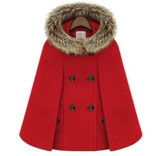 Autumn Winter Double-Breasted Cloak Cape Woollen Coat Women Hooded Warm Batwing Sleeve Loose Outwear,Red,L