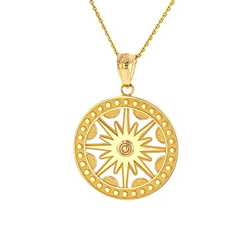 Textured 14k Yellow Gold Openwork Round Flaming Sun Pendant Necklace, 16