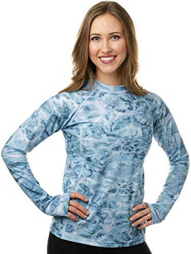 Aqua Design Womens Rash Guard Long Sleeve - Swim Shirt Rashguard for Women Aqua Sky: Size 3XL