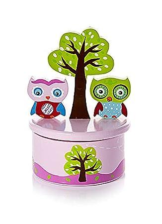 """Caja de música rosa para bebés decorada con búhos y con la melodía """"Its a"""