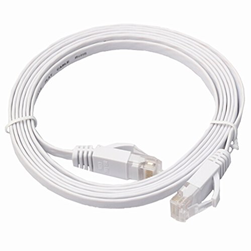 0.5M Flat UTP Ethernet Network Cable (White) - 1