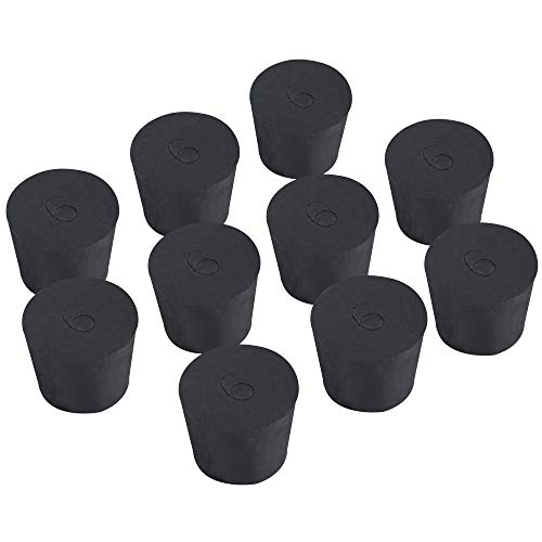 - 10 Pack Solid Rubber Stoppers - Size #6-33mm x 25mm - 28mm Long - Black Lab Plug
