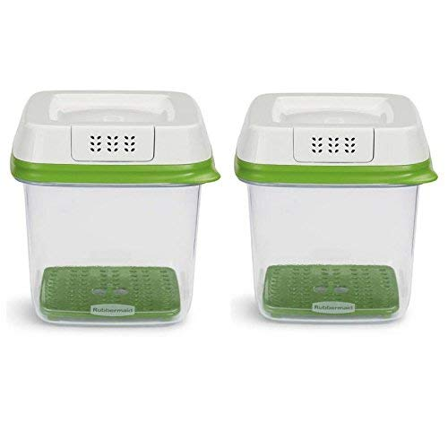 Rubbermaid FreshWorks Produce Saver Food Storage Container, Medium, 6.3 Cup, Green/ Set of 2 (Rubbermaid Refrigerator)