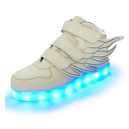 Pilusooou Cool and Popular SLEVEL LED Light Up Shoes USB Flashing Sneakers for Kids Boys Girls White36/4 M US Big Kid