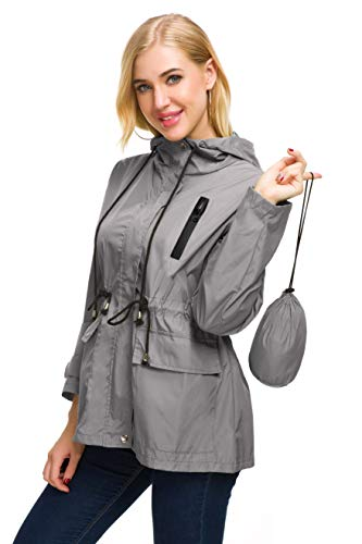 Casual Rain Jacket Women Active Raincoat Solid Rain Coats with Hood Outdoor (Gray,L)