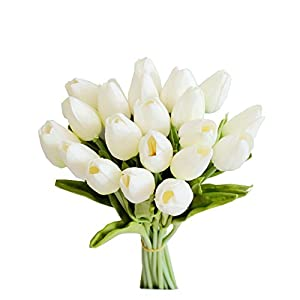 "Mandy's 20pcs White 14"" Silk Artificial Tulips Flowers for Party Home Decoration 107"