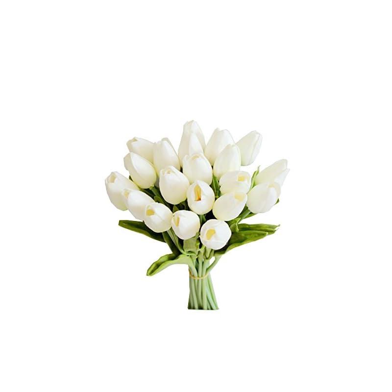 silk flower arrangements mandy's 20pcs white artificial latex tulips for party home wedding decoration