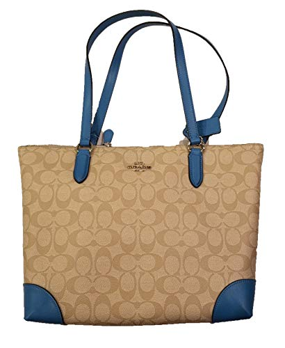 (Coach Zip Top Tote in Signature Coated Canvas with Smooth Leather Detailing F29208 (Light Khaki/Bright Blue))