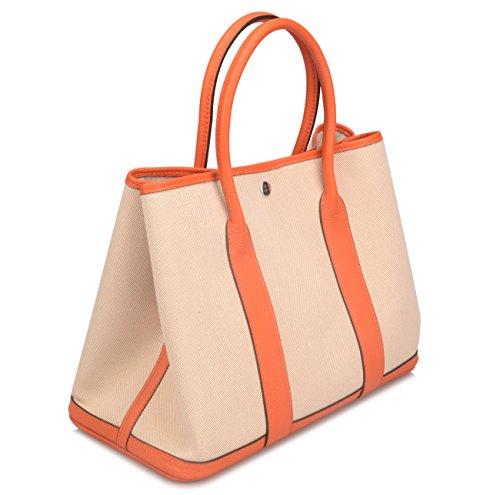 Ainifeel Women's Genuine Leather Top Handle Handbag Shopping Bag Tote Bag (Orange(leather+canvas)) by Ainifeel (Image #1)