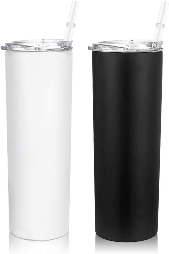 AiHeart 30 oz Skinny Tumblers with Straws,2 Pack Stainless Steel Double Wall Vacuum Insulated Cups,Slim Water Cup,Stainless Steel Ttumbler,Travel Mug Gift for Men and Women (White black)