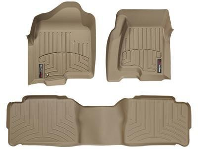 (2011-2012 Ford F-250/F-350/F-450/F-550 SuperCab-Weathertech Floor Liners-Full Set (1st and 2nd Row)-Vehicles with Manual 4x4 Transfer Case-Tan -Driver Side Depressed Forward-Left Corner)