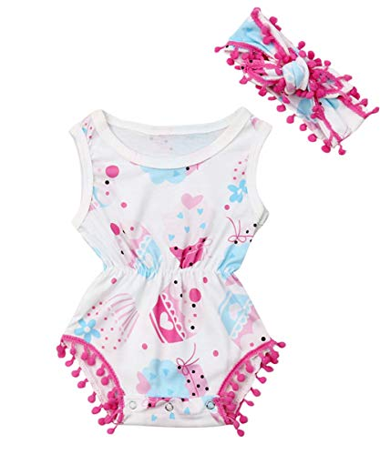 Newborn Infant Baby Girl Clothes Lace Halter Backless Jumpsuit Romper Bodysuit Sunsuit Outfits Set (Infant Girl Ice Cream Romper with Pompom Headband, 0-3Months)]()