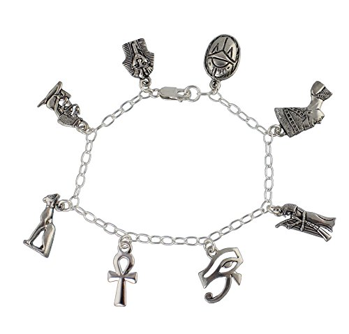 Ancient Egypt Charm Bracelet- Pewter + Sterling Silver- Ankh, King Tut, Cleopatra, Scarab (8