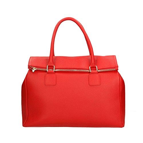 Aren Cm en 37x30x15 femme main in Made Sac Rouge cuir Italy véritable à rxfqSUwar