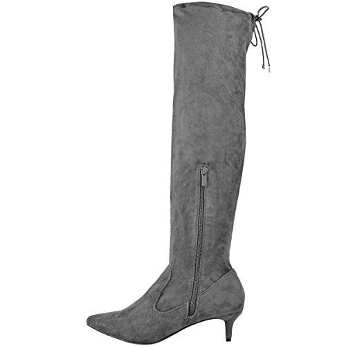Mode Dorstige Dames Lage Hak Dij Kniehoge Laarzen Wees Stretch Schoenen Maat Grijs Faux Suede